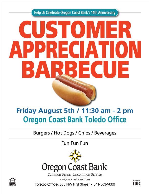 Customer Appreciation Barbecue Toledo Oregon Coast Bank